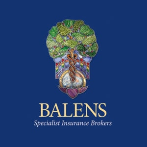 Balens logo against blue and white backgrounds.indd